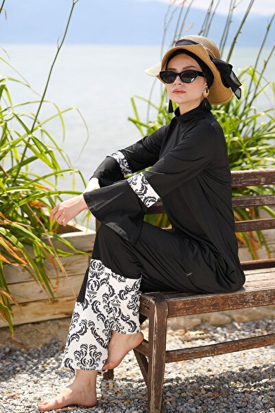 Marina Bol Kesimli Salaş Model Tasarım Tam Kapalı Tesettür Mayo 1958 Siyah