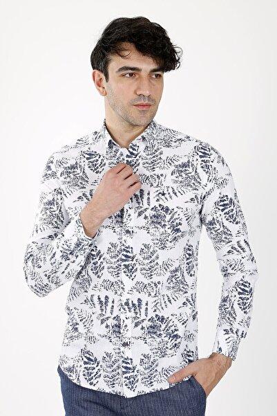 Jakamen Unisex Lacivert Slim Fit Normal Manşet Gömlek