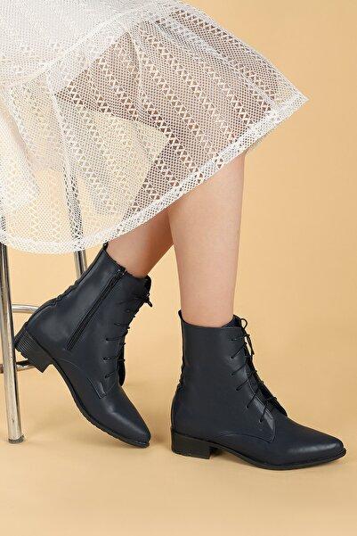 Ayakland Kadın Lacivert Cilt Bağcıklı Termo Taban Bot Ayakkabı 007-01
