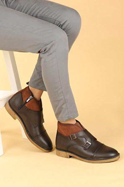Ayakland Erkek Kahverengi Cilt Termo Taban Bot Ayakkabı 5200