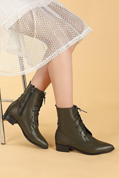 Ayakland Kadın Haki Cilt Bağcıklı Termo Taban Bot Ayakkabı