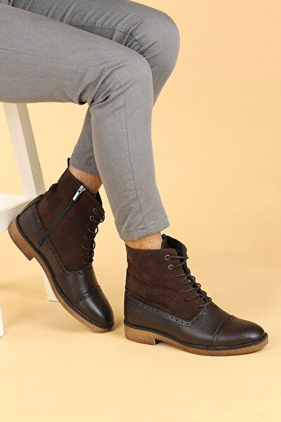 Ayakland Erkek Kahverengi Cilt Termo Taban Bağcıklı Bot Ayakkabı