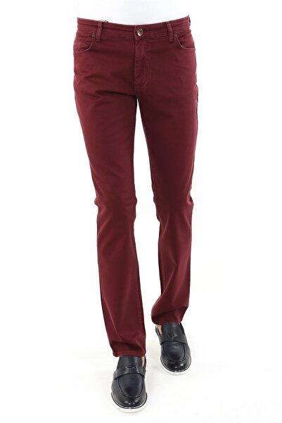 Jakamen Erkek Bordo Slim Fit Serili  Spor 5 Cep Serili Pantolon