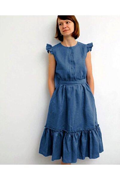 Soobe Kadın Mavi Kolsuz Kuşaklı Ayrobin Elbise