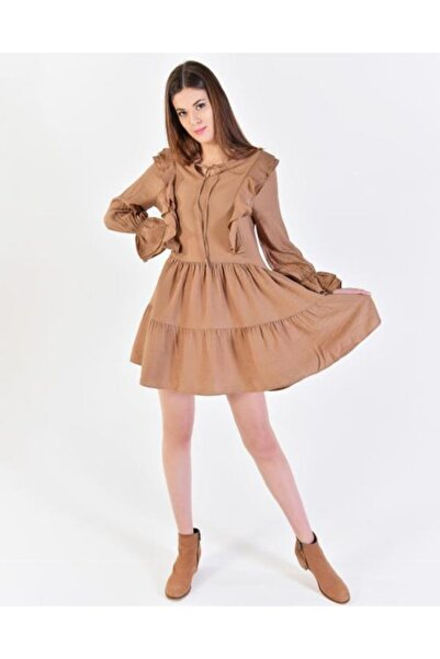 Vision Kadın Kahverengi Fırfır Detaylı Elbise