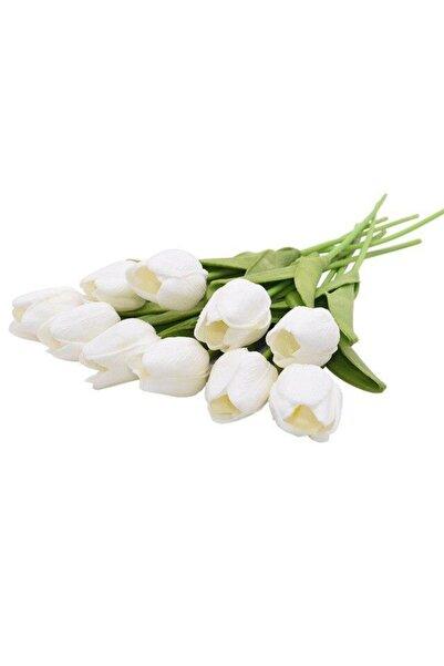 Nettenevime Yapay Çiçek Islak Lale Gerçeksi Doku 10lu Beyaz