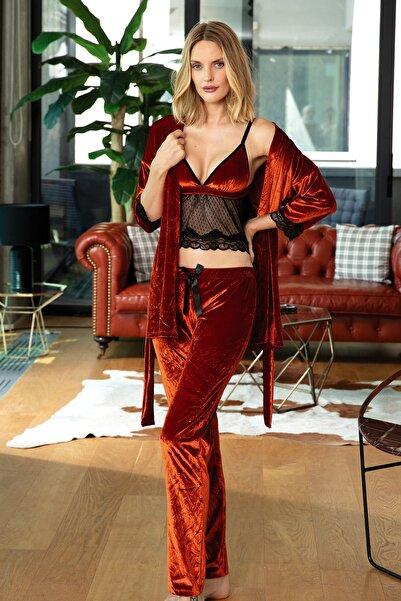 Anıl Kadın Kırmızı Sabahlık Büstiyer Ve Pantolon Takım