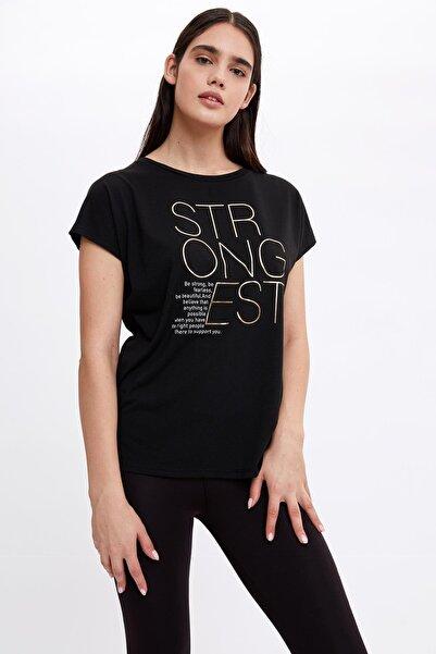 DeFacto Kadın Siyah Slogan Baskılı Relax Fit T-Shirt