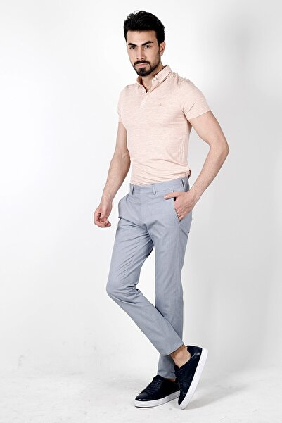 Jakamen Erkek Mavi Ekstra Extra Slim Fit  Spor Yan Cep Pantolon