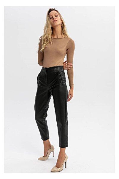 TIFFANY&TOMATO Kadın Siyah Pensli Yüksek Bel Deri Pantolon