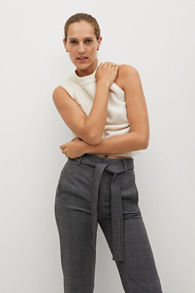 MANGO Woman Kadın Gri Pantolon 77098253