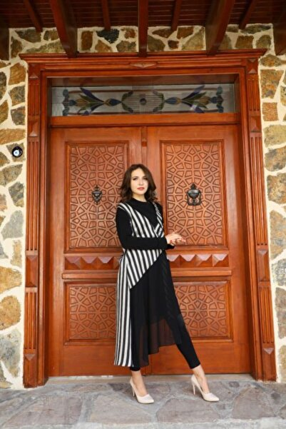 Al-Marwah Kadın Siyah Beyaz Çizgili Ceket