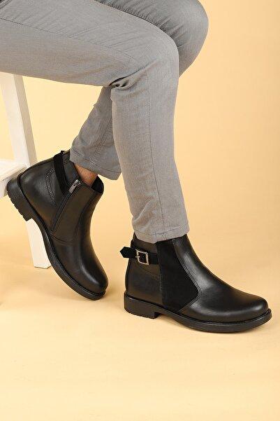 Ayakland Erkek Siyah Termo Taban Fermuarlı Bot Ayakkabı 620