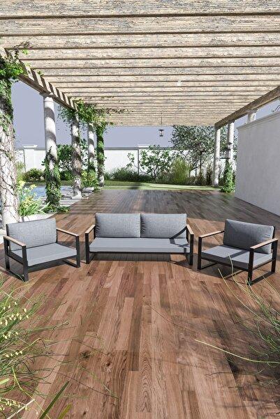 Evdemo Kobalt Bahçe Balkon Oturma Takımı 2+1+1 Gri