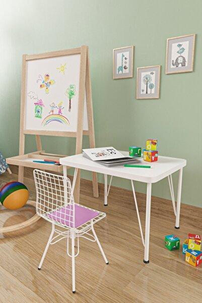 Evdemo Çocuk Masa Sandalye Takımı Pudra
