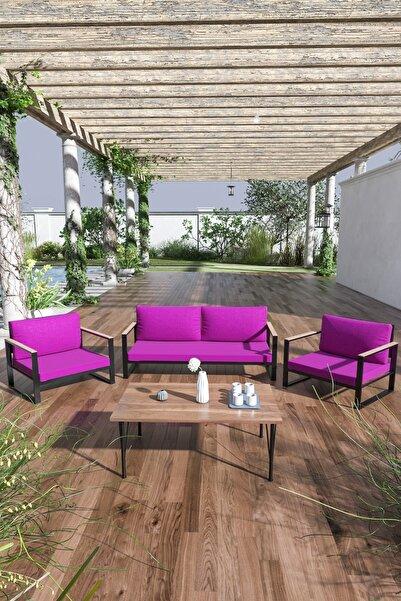 Evdemo Kobalt Bahçe Balkon Oturma Takımı Sehpalı 2+1+1 Mor