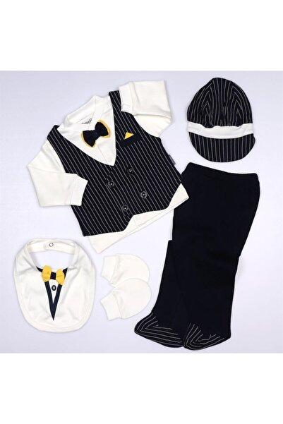 Miniworld Çizgili Papyonlu 5'li Erkek Bebek Hastane Çıkış Seti