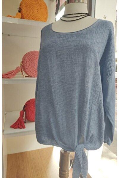 Apex Kadın Mavi Bağlamalı Bluz