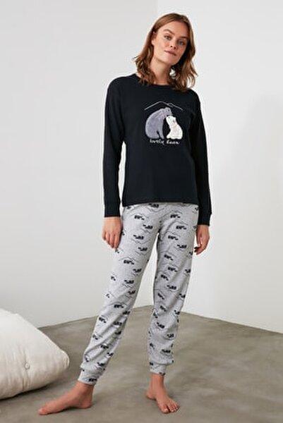Lacivert Nakışlı Örme Pijama Takımı THMAW21PT0644