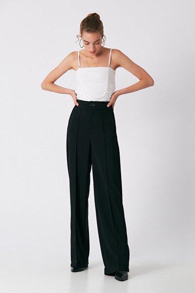Robin Kadın Siyah Bol Paça Kumaş Pantolon