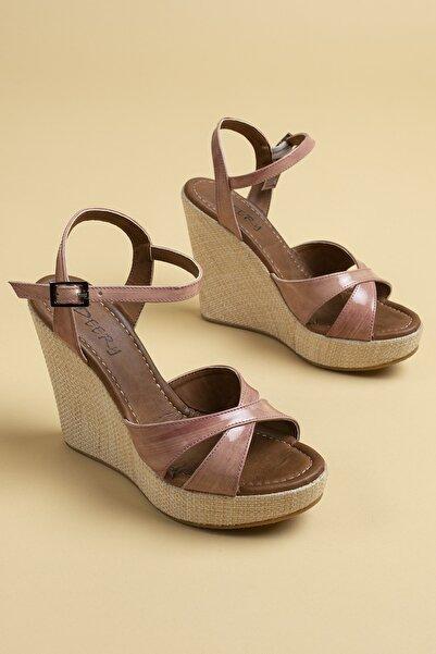 Deery Kadın Lila  Hakiki Deri Sandalet 02051ZSRIC01