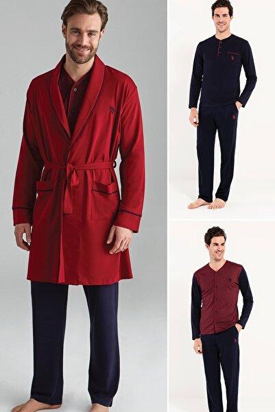 U.S. Polo Assn. Erkek Bordo Damat Seti Pijama Takımı 5'li