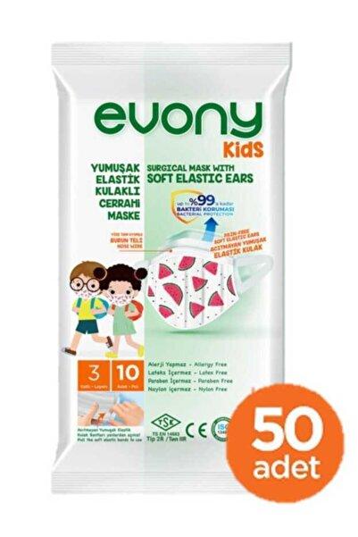 Evony Kids Yumuşak Elastik Kulaklı Renkli Çocuk Maskesi 50 Adet (10 X 5 Paket)