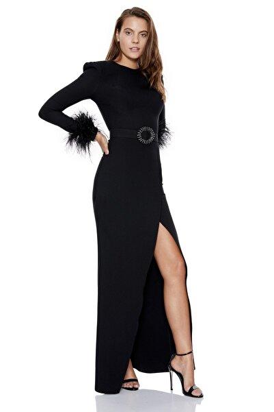Keikei Kadın Siyah Krep Uzun Kol Uzun Elbise