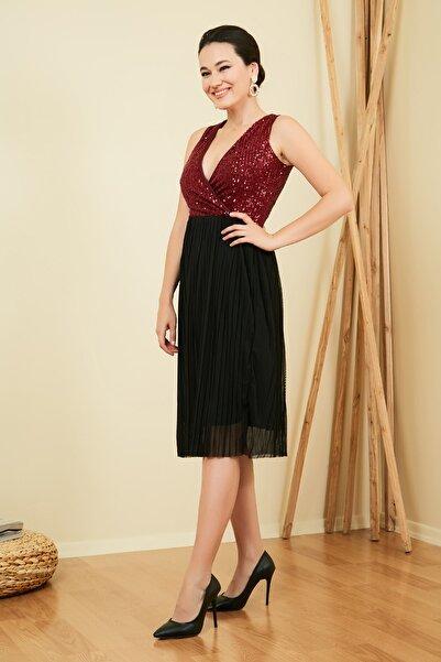 Sateen Kadın Siyah Kruvaze Pul Detay Piliseli Elbise