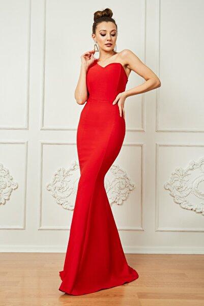 Sateen Kadın Kırmızı Tek Omuz Balık Abiye Elbise