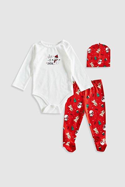 LC Waikiki Erkek Bebek Kırmızı Baskılı Ltq Bebek Takımları