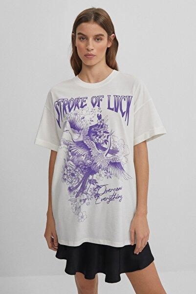 Bershka Kadın Beyaz Desenli T-shirt
