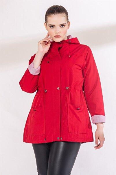 RMG Kadın Kırmızı Cep Ve Bağcık Detaylı Büyük Beden Trençkot