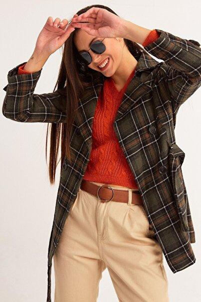 Fulla Moda Kadın Haki Kuşaklı Ekose Trençkot