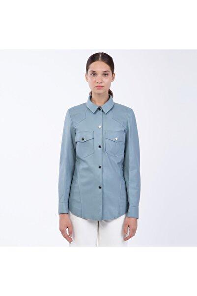 KEMAL TANCA Kadın Mavi Deri Mont Ceket
