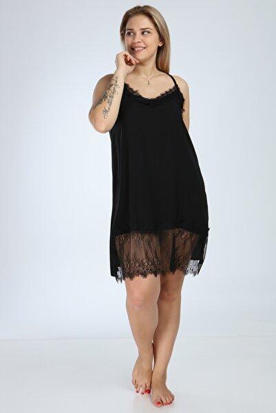 Moda Cazibe Kadın Siyah Büyük Beden Yaka Etek Dantel Gecelik Elbise