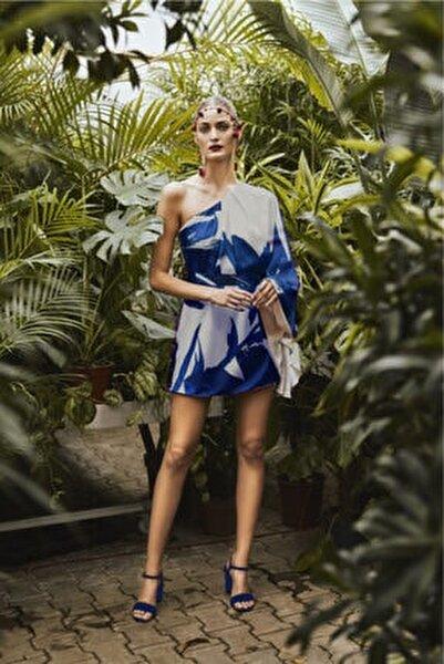 Kadın Lacivert Desenli Tek Omuz Kısa Elbise