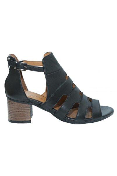 Venüs Kadın Siyah Kalın Topuk Deri Sandalet