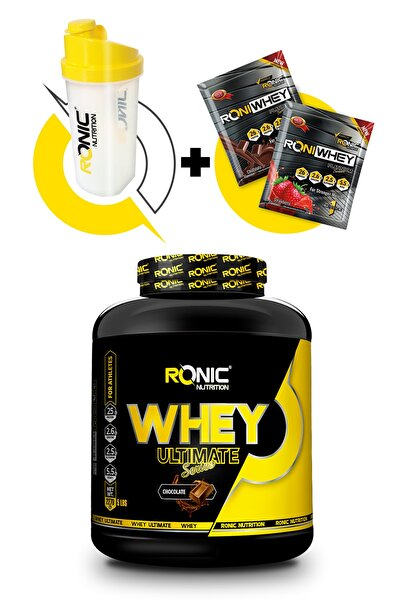 Ronic Nutrition Ultimate Whey Protein Tozu 2270 gr Çikolata Aromalı+ Shaker Ve 2 Adet Tek Kullanımlık Whey Protein