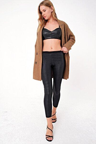Trend Alaçatı Stili Kadın Siyah Likralı Parlak Görünümlü Tayt ALC-X4386-RV-1