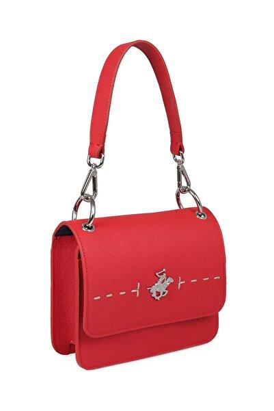 Beverly Hills Polo Club Kadın Hakiki Deri Dikiş Desenli El ve Omuz Çantası Kırmızı