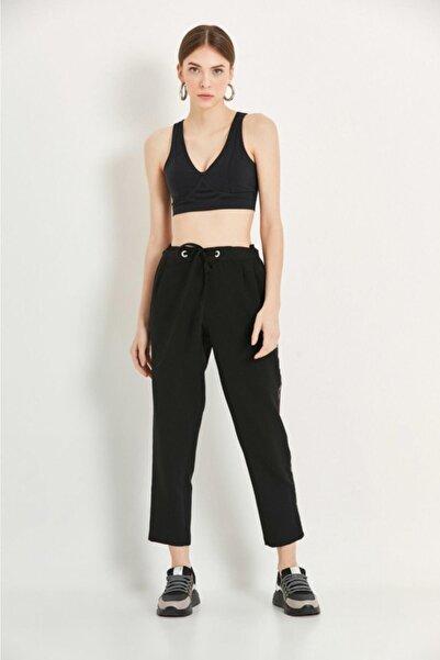 Say Kadın Siyah Yanları Şeritli Siyah Jogger Pantolon