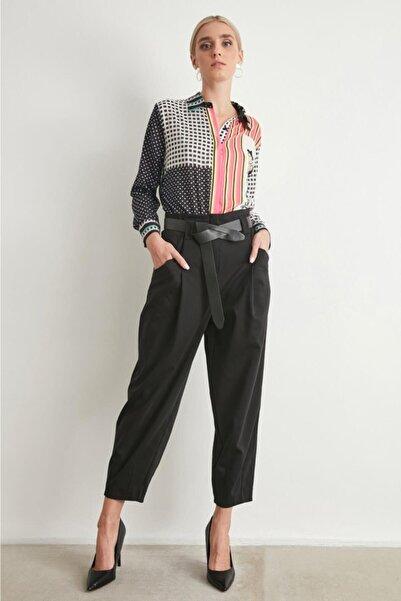 Say Kadın Siyah Kemerli Şalvar Pantolon