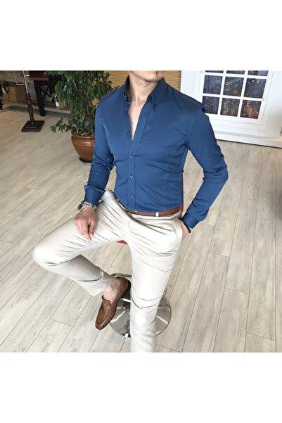 TerziAdemAltun Erkek Lacivert İtalyan Stil Slim Fit Dik Yaka Saten Gömlek T4752