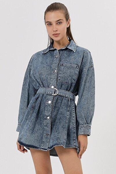 Y-London Kadın Denim Asit Yıkamalı Kemerli Kot Elbise Y20W180-6607