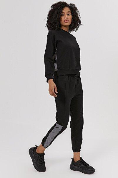 Y-London Kadın Siyah Reflektörlü Örme Eşofman Takımı Y20W169-1500