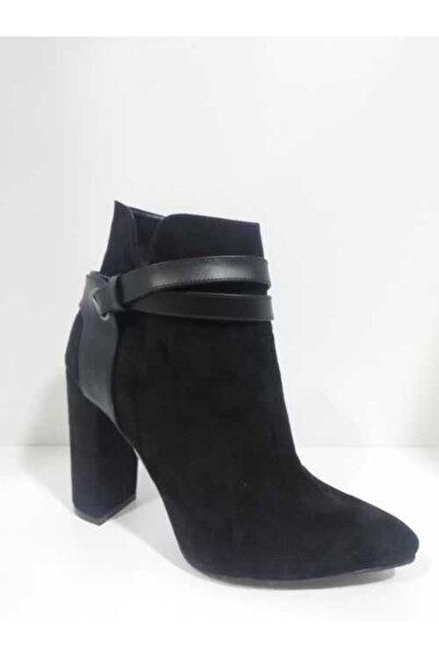 Sedef Kadın Siyah Kalın Topuk Bot