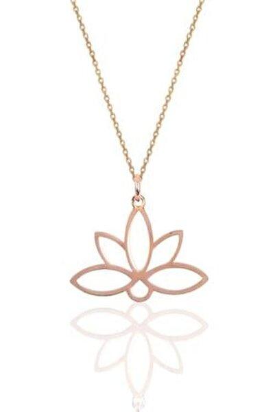 925 Ayar Rose Altın Kaplama Gümüş Lotus Çiçeği Kolye