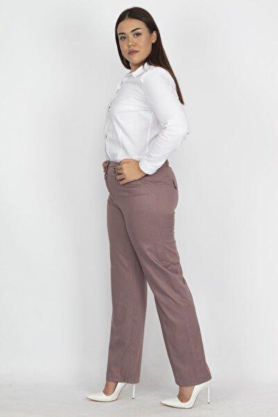 Şans Kadın Gül Kurusu Saten Kumaş Cep Detaylı Klasik Pantolon 65N19373