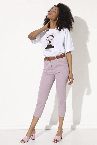 Arma Life Kadın  Lila Deri Kemerli Pantolon